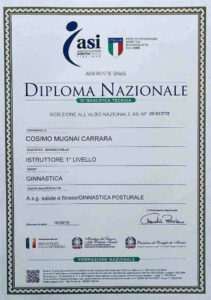 Diploma nazionale istruttore di ginnastica posturale
