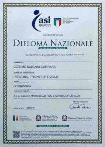 Diploma nazionale istruttore di sala pesi e cardio livello 3