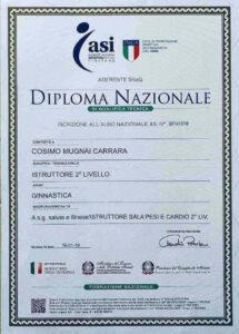 Diploma nazionale istruttore di sala pesi e cardio livello 2